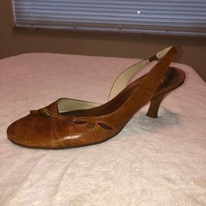 Kenneth Cole Brown Leather Slingback Heels